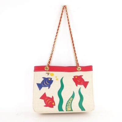 Vintage Moschino Long Chunky Chain Fish Tote  Shoulder Bag