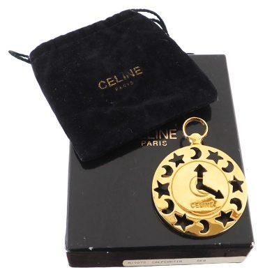 Vintage Celine Cut Out Gold Clock Motif Full Set Brooch