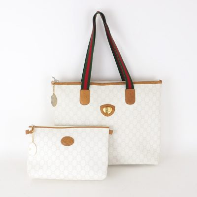 Vintage Gucci Gucci Plus White Gold Tote Clutch Set Hand Bag
