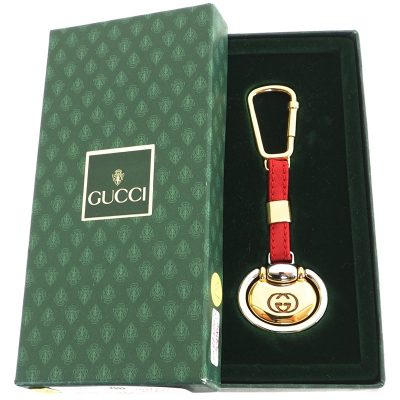 Vintage Gucci Red Leather Key Chain Ring Accessory