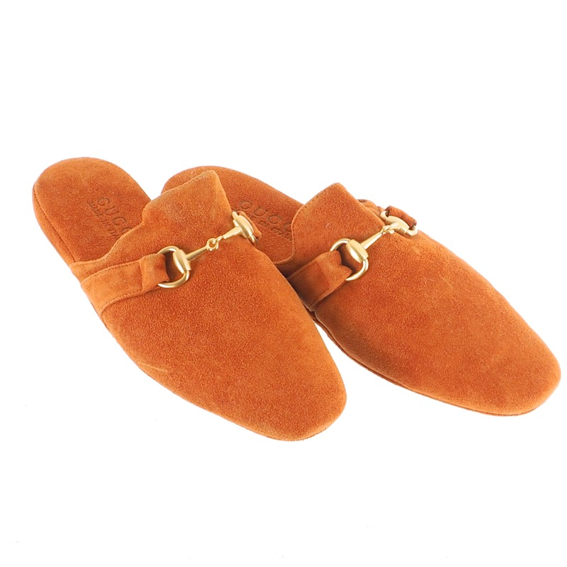 f87f52e0ffded Vintage Gucci Made in Italy Orange Suede Room Slippers US6 Shoes