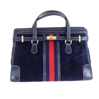 Vintage Gucci Blue Suede Red Excellent  Hand Bag