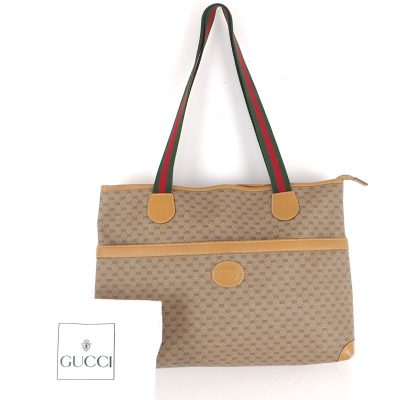 Vintage Gucci Large Micro GG Canvas Ribbon Hand Bag
