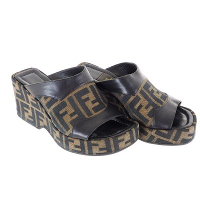 Vintage Fendi Zucca Wedge Sandals Shoes Brown Black Leather Shoes