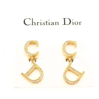 Vintage Christian Dior CD Rhinestone Dangle Excellent  Earrings