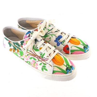Vintage Gucci Italy 36 US 6 Floral Pattern Canvas Rare Sneakers Shoes