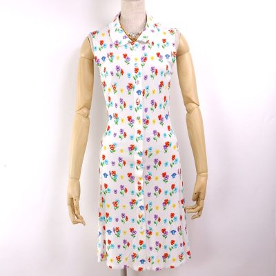 Vintage Versace Italy 42 US6 Signature Summer Floral Medusa Dress Clothing