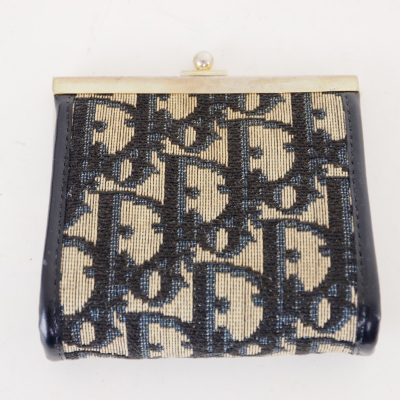 Vintage Christian Dior CD Monogram Canvas Pattern Frame Clutch Bag