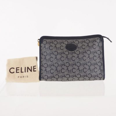 Vintage Celine Horse Carriage Blue Monogram Excellent Clutch Bag