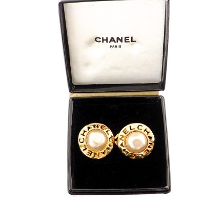 Vintage Chanel Faux Pearl Cut Out Gold White  Earrings