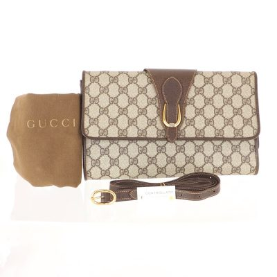 Vintage Gucci Excellent Condition Full Set Monogram Clutch Shoulder Bag