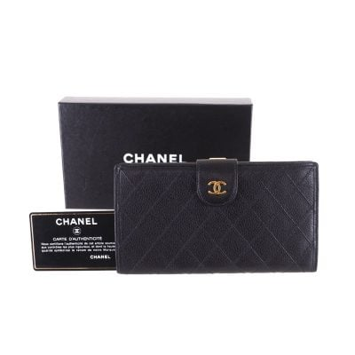 Vintage Chanel Caviar Skin Quilted Long Clutch Wallet