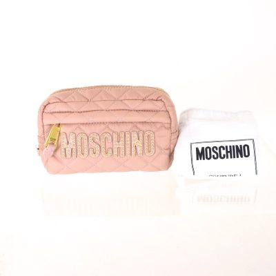 Vintage Moschino Studded Pink Quilted Clutch Bag Pouch