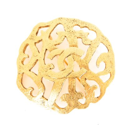 Vintage Chanel Arabesque CC Gold Pin Brooch