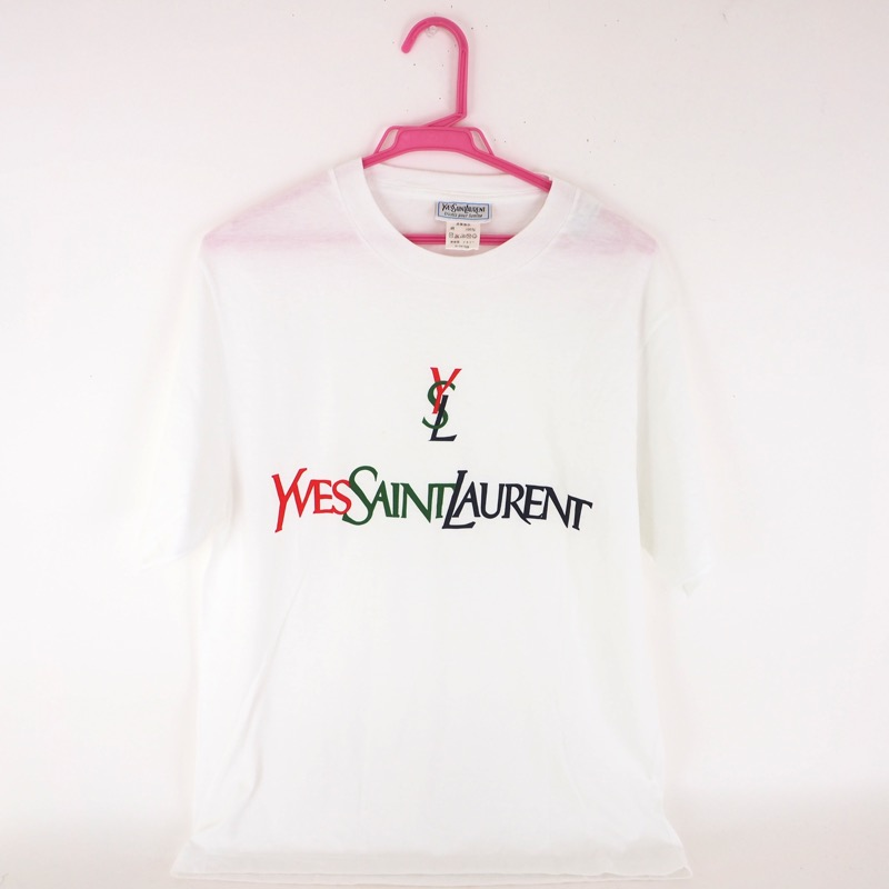 db4aa6038e1 Vintage Yves Saint Laurent YSL Simple Logo T-Shirt Cotton Clothing