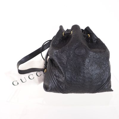 Vintage Gucci Excellent Genuine Ostrich Drawstring Bucket Shoulder Bag