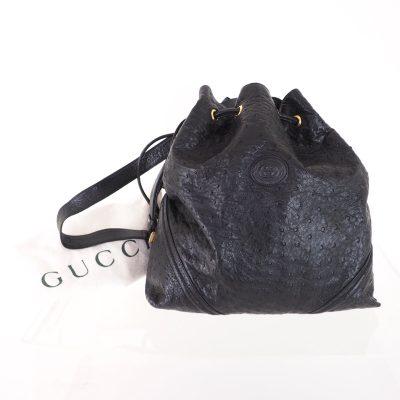 Vintage Gucci Excellent Genuine Ostrich Drawstring Bucket Shoulder Bag