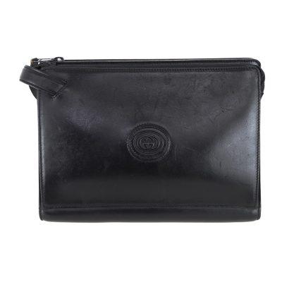 Vintage Gucci Black Leather Simple Single Handle  Clutch Bag