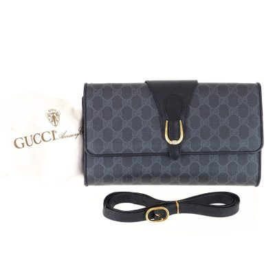 Vintage Gucci Black Monogram Excellent 2way Clutch Shoulder Bag