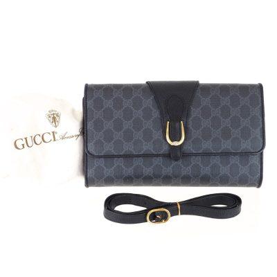 Vintage Gucci Black Monogram Excellent 2way Clutch Shoulder Bag