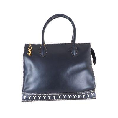 Vintage Yves Saint Laurent YSL Cut Out Excellent Blue  Hand Bag