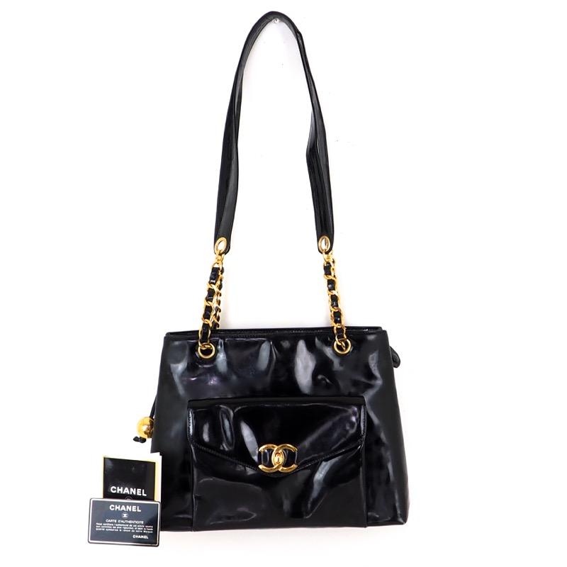 1b94fd04c9ab Vintage Chanel Black Patent Leather Chain Tote Shoulder Bag - Nina ...