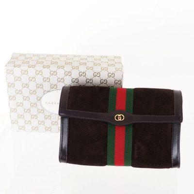 Vintage Gucci GUCCI Parfums Suede Ribbon Flap Clutch Bag