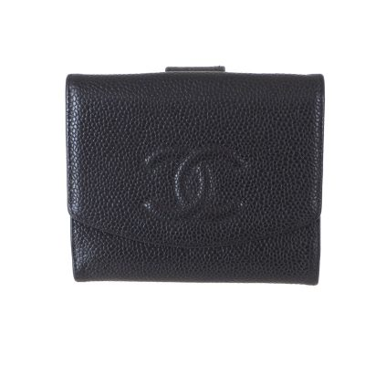 Vintage Chanel Caviar Black Simple Wallet