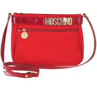 Vintage Moschino Red Canvas Logo Shoulder Bag