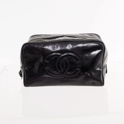 Vintage Chanel Black Patent Leather Toilet  Clutch Bag