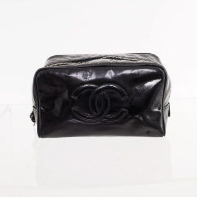 Vintage Chanel Black Patent Leather Toilet  Clutch Bag