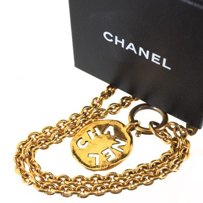 Vintage Chanel Cut Out Gold Chain Tag Necklace