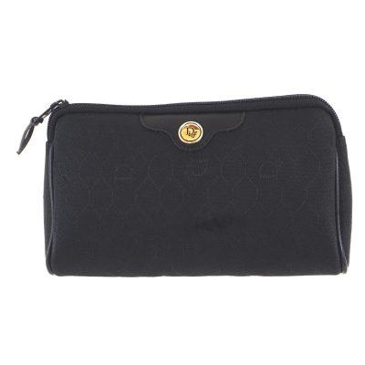 Vintage Christian Dior Black Honeycomb Monogram Mini Clutch Bag
