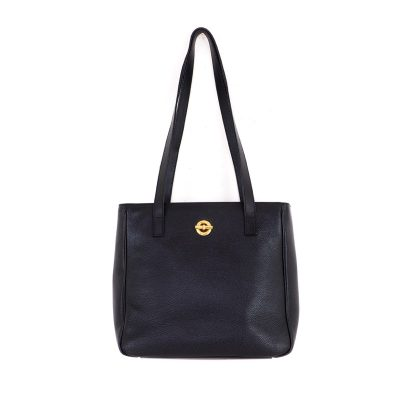 Vintage Celine Black Leather Simple Tote Hand Bag