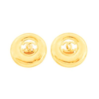 Vintage Chanel Round Gold Large Clip Earrings