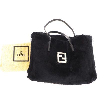 Vintage Fendi New Fur Square Black Tote Hand Bag