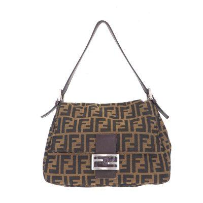 Vintage Fendi Monogram Zucca Mamma Baguette  Hand Bag