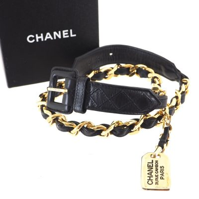 Vintage Chanel New Chain Nametag Excellent  Belt