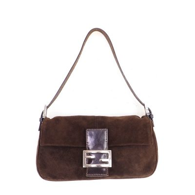 Vintage Fendi Brown Suede Leather Mamma Baguette  Hand Bag