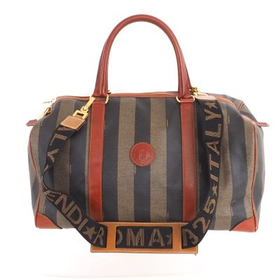 Vintage Fendi Pecan Stripe M Sized Speedy Strap Hand Bag