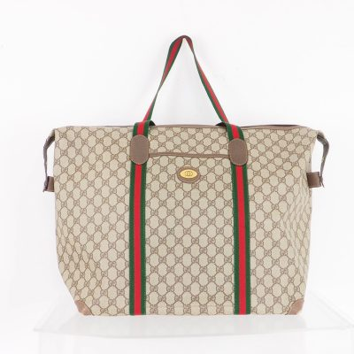 Vintage Gucci Rare Large Monogram Red Green Travel Tote Hand Bag