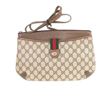 Vintage Gucci Excellent Monogram Clutch Shoulder Spaghetti Strap Bag