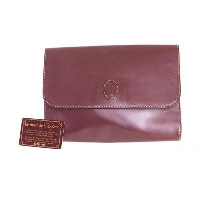 Vintage Cartier Must De Cartier Burgundy Signature Clutch Bag