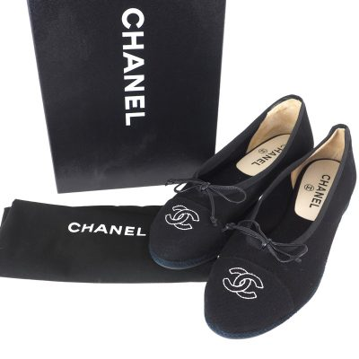 Vintage Chanel Full Set Black Canvas Ballerina Flat NIB 38 US US7.5 Shoes