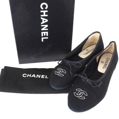 Vintage Chanel Full Set Black Canvas Ballerina Flat NIB 38 US US7.5 Shoes