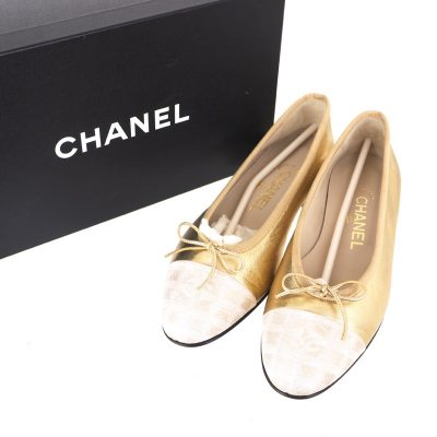 Vintage Chanel Travel Line Gold Ballerina Flat NIB EU37 US6 Shoes