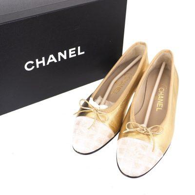 Vintage Chanel Travel Line Gold Ballerina Flat NIB EU37 US6 Shoes