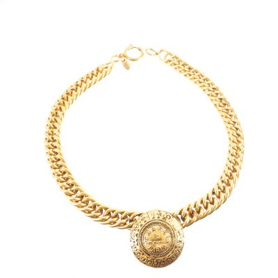 Vintage Chanel Coin Medallion Chunky Chain Choker Necklace