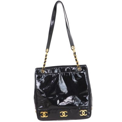 Vintage Chanel Eight Gold CC Logo Patent Leather Tote Shoulder Bag