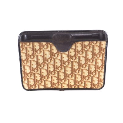 Vintage Christian Dior Brown Monogram Signature 1970's Clutch Bag
